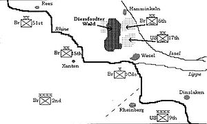17th Airborne Division (United States) - Map of the Operation Varsity planned drop zones.