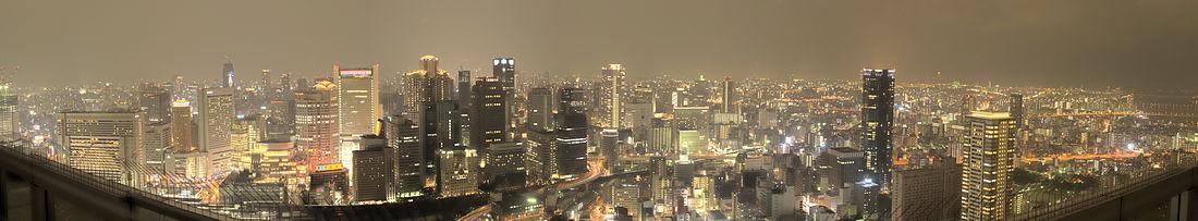 Panoramo de nokta Osako el Sky Building en Umeda