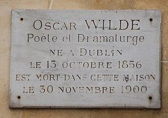 L'Hôtel - Image: Oscar Wilde plaque, 13 rue des Beaux Arts, Paris 6