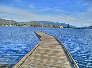 Oroville, Washington - The townsite of Osoyoos Lake within the northern Okanogan Highlands in Oroville, Washington