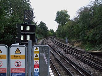 Osterley tube station - Image: Osterley station look east to old Spring Grove