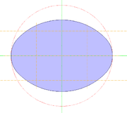 An oval with two axes of symmetry.