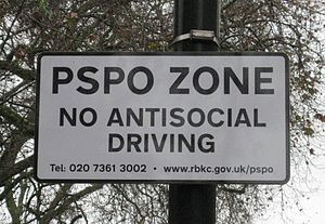 Public Space Protection Order - PSPO warning sign in Knightsbridge, London