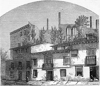 Palace of the Dukes of Braganza - An engraving showing the ruins of the Paços dos Duques de Bragança