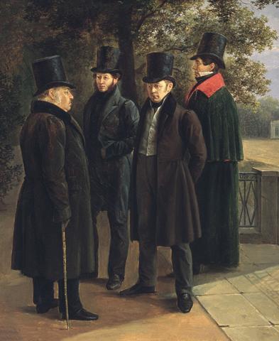 Г. Чернецов. Крылов, Пушкин, Жуковский и Гнедич в Летнем саду, <i>1832</i>
