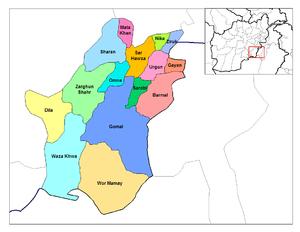 Siege of Urgun - Image: Paktika districts