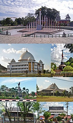 From top, right to left: Sukarno Monument, Islamic Center of Palangka Raya, Youth Statue, Bird Round of central park, University of Palangka Raya, and some of local parliament offices.