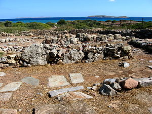 Grandes (islands) - Minoan site of Roussolakkos near Paleokastro. The islands of Elasa (left) and Grandes (right) in the distance.