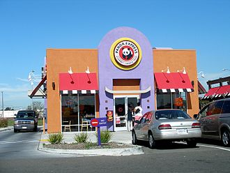 Panda Express - A stand-alone Panda Express restaurant in Oakland, California with drive-through window