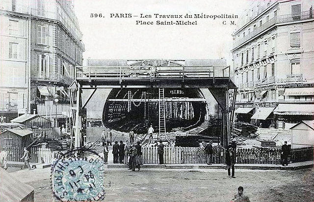 File paris les travaux du metropolitain place saint - Metro saint michel paris ...