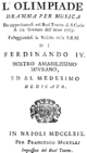 Pasquale Cafaro - Olimpiade - titlepage of the libretto - Neapel 1769.png