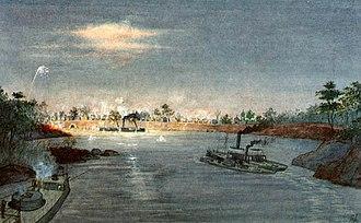"Passage of Humaitá - ""The Passage of Humaitá."" A shellburst illuminates the night scene.  (By the Brazilian admiral and watercolourist Trajano Augusto de Carvalho, 1876–1942).n"