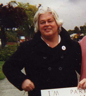 Paul Watson - Paul Watson leads protest against Makah whaling, Port Angeles, Washington, 1998.