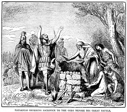 Pausanias offering sacrifice to the Gods before the battle Pausanias offering sacrifice to the Gods before his great battle.jpg