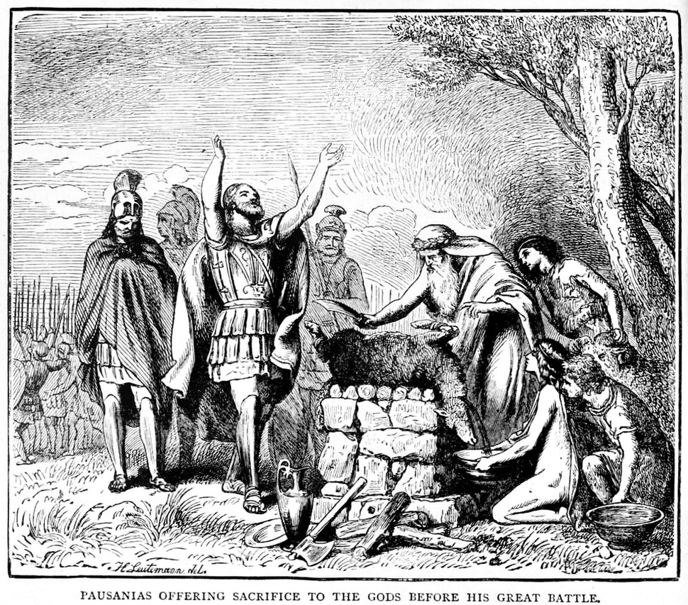 Pausanias offering sacrifice to the Gods before his great battle