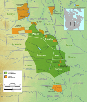 Otoe - Tribal territory of the Otoe