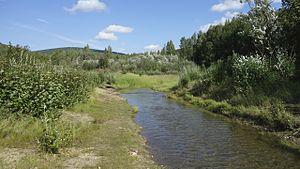 Felix Pedro - Pedro Creek in Tanana, Alaska.  Felix Pedro's discovery of gold here in 1902 began the Alaskan gold rush.