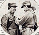 """The """"first ace"""", Adolphe Pegoud being awarded the Croix de Guerre"""