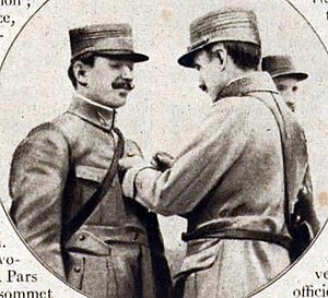 "Flying ace - The ""first French ace"", Frenchman Adolphe Pégoud being awarded the Croix de guerre."