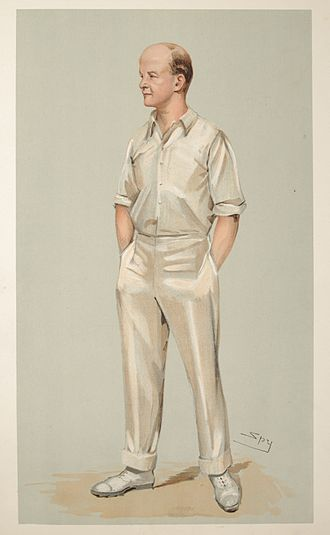 "Pelham Warner - ""Plum"" as caricatured by Spy (Leslie Ward) in Vanity Fair, September 1903"