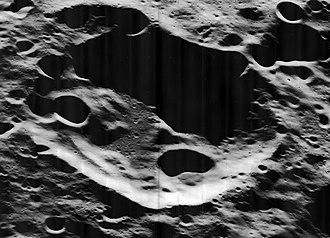 Perkin (crater) - Oblique Lunar Orbiter 5 image, facing west