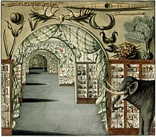 Perspective interior view of Sir Ashton Lever's Museum in Leicester Square, London March 30 1785. Watercolour by Sarah Stone.jpg