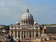 Michelangelo designed the dome of St. Peter's Basilica, although it was unfinished when he died.