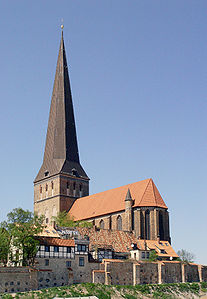 Rostock, Germany - Brick Gothic St. Petri church and medieval town wall