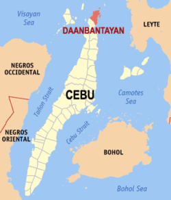Map of Cebu showing the location of Daanbantayan