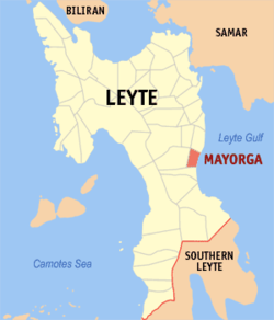 Map of Leyte with Mayorga highlighted