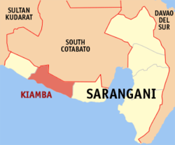 Map of Sarangani showing the location of Kiamba.