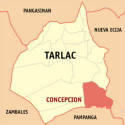 Map of Tarlac showing the location of Concepcion