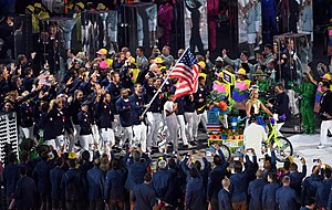 2016 Summer Olympics Parade of Nations - Michael Phelps carrying the flag on behalf of athletes from the United States