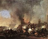 Philips Wouwerman - Cavalry Battle in front of a Burning Mill - WGA25869.jpg