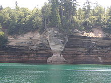 Waterfront cliff face.