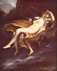 Prud'hon (1758-1823): L'enlèvement de Psyché. Prud'hon admirait beaucoup les formes élégantes de l'antiquité grecque, et il a su peindre de beaux corps, caressés d'une lumière dorée. (Musée du Louvre)