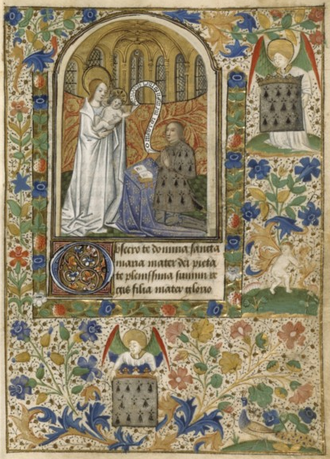 Peter II, Duke of Brittany - Peter II of Britain praying before the Virgin and Child (livre d'heures de Pierre II de Bretagne)
