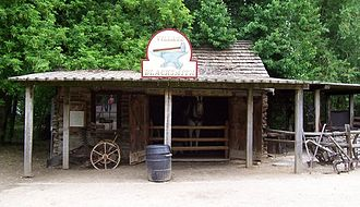 Cedar Fort, Utah - Built in Cedar Fort in 1858, this blacksmith shop served the needs of the troops stationed at nearby Camp Floyd. The building has been relocated to the Pioneer Village inside the Lagoon Amusement Park in Farmington, Utah.