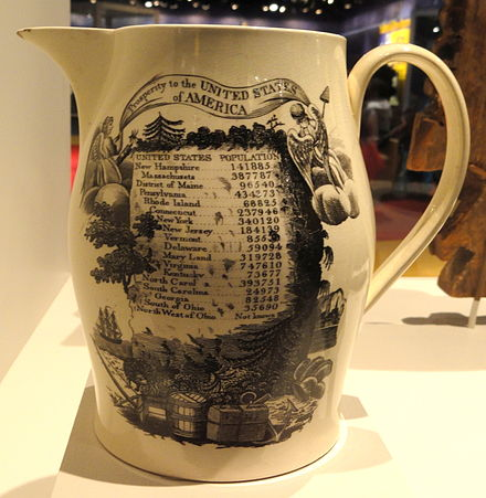 Commemorative pitcher with census results Pitcher commemorating the first United States census, c. 1790, made in England - National Museum of American History - DSC06150.JPG