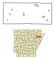 Poinsett County Arkansas Incorporated and Unincorporated areas Waldenburg Highlighted.svg