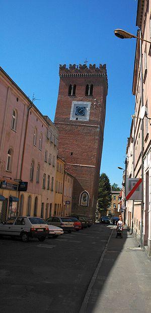 1590 Neulengbach earthquake - The damaged city tower of Ząbkowice Śląskie