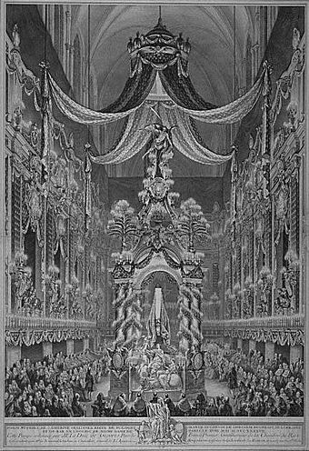 Castrum doloris for Queen Katarzyna Opalinska of Poland, erected in Notre Dame de Paris in 1747 Pompe funebre for Katarzyna Opalinska.jpg