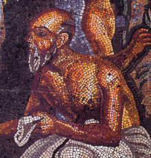 Detail of a poet giving directions from a theatrical scene. Roman mosaic from the tablinum Casa del Poeta tragico (VI 8, 3–5) in Pompeii. Naples National Archaeological Museum.