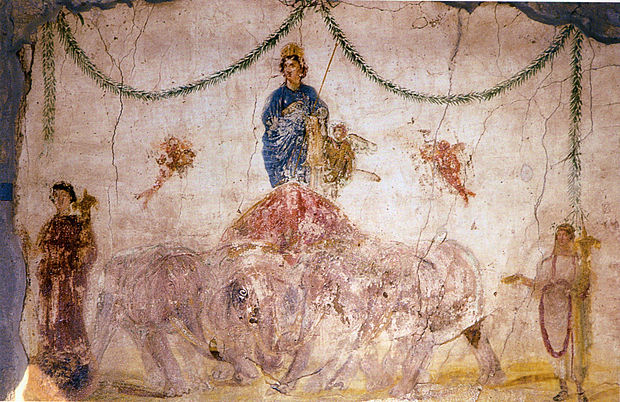 Venus standing on a quadriga of elephants. Roman frecso from the Officina di Verecundus (IX 7, 5) in Pompeii.