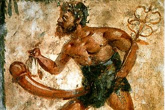 Priapus - Priapus depicted with the attributes of Mercury in a fresco found at Pompeii