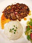 Pork Steak Namtok with rice .JPG