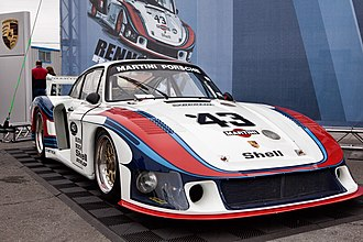 "Porsche in motorsport - The original Porsche 935/78 ""Moby Dick"" in Martini Racing livery at the Porsche Rennsport Reunion IV."