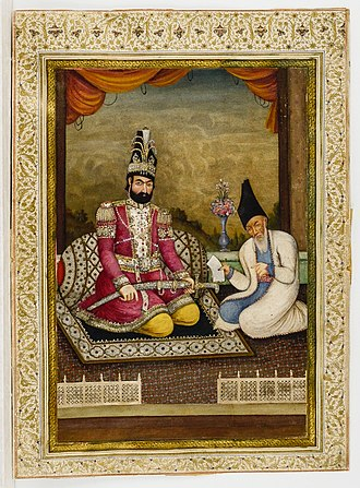 Mohammad Shah Qajar - Portrait of Muhammad Shah Qajar and his Vizier Haj Mirza Aghasi, second quarter of the nineteenth century, Ink, opaque watercolor and gold on paper, Iran, collection of the Metropolitan Museum of Art.
