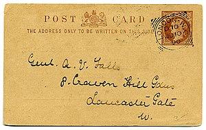 Postal card - United Kingdom postal card of 1895.