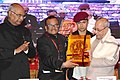 "Pranab Mukherjee being felicitated at the closing ceremony of an International Conference on ""Buddhism in the 21st Century - perspectives and responses to Global Challenges and Crises"", at Rajgir, Nalanda, in Bihar.jpg"